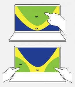 To laptops, hvor der viser håndstilling ved tommelfingerbrug og ved pegefingerbrug.