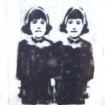 Black grafitti stencil on wall of twin sisterswith headband and scarffs
